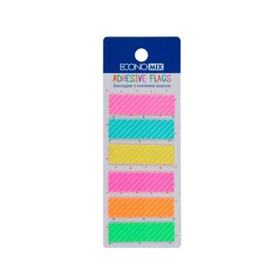 Блок бумаги  липкий 12х44мм Economix Е20965 Fun Strip (6цв) MIX