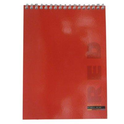 Блокнот А4 48 л # в клетку ВА4248-001 мягкая обложка спираль вверху, красный