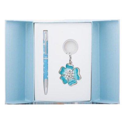 """БЕЗ СКИДКИ Набор подарочный """"Langres"""" LS 122019-02Bloom (ручка+брелок) в голубой коробке ##"""