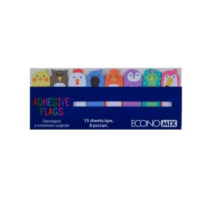 Блок бумаги  липкий 15х48мм Economix Е20964 Fun Birds (8цв) MIX