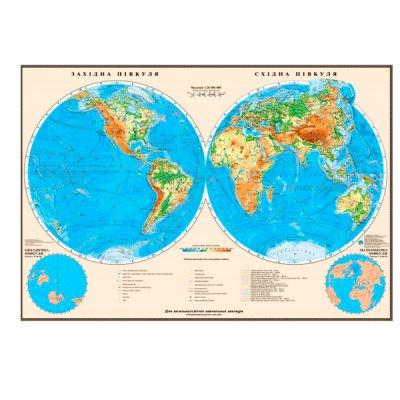 Карта мира физическая полушария М1:24 млн 110х160 картон ( на украинском)
