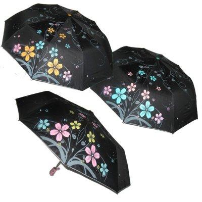 Зонт женский  полуавтомат 124 черный с цветами **