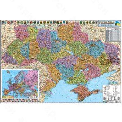 Карта Украины административной территории М1:850 тыс 110х160 (картон)