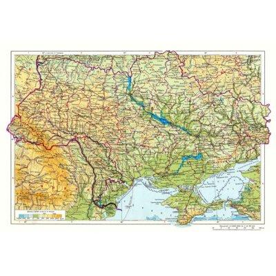 Карта Украины физическая М1:2 350 тыс. А2 65х45 (картон) укр