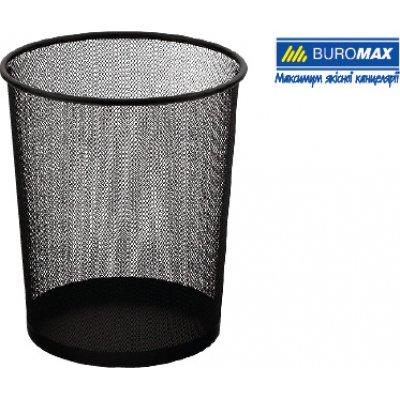 """Корзина для бумаг """"BuroMAX"""" BM 6270-01 круг.метал.черн."""
