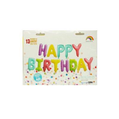 Набор шариков букв из фольги Happy Birthday пастель **