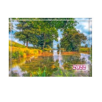 Календарь настенный 3 месяца 2022 БЭК-09 Осенние озеро (1 спираль)