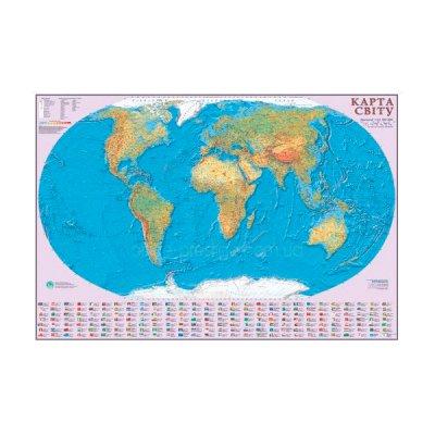 Карта мира общегеографическая М1:22млн 160х110 (картон) укр
