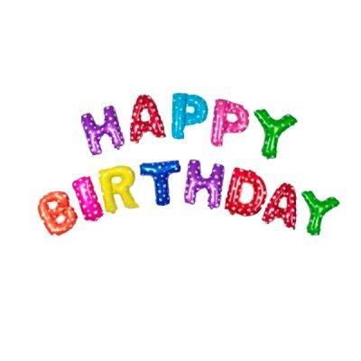 Набор шариков фольга Happy Birthday разноцветные буквы