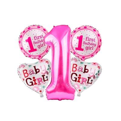 Набор шариков фольга Baby girl розовые 5 шт