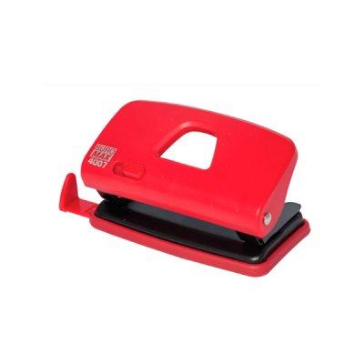 """Дырокол """"BuroMAX"""" 4007-05 на10 л пластиковый с линейкой,  красный"""
