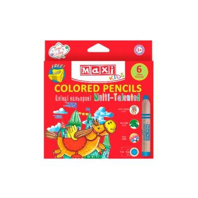 Карандаши цветные MX15171 Multi-Talented 3 в 1, 6 цветов с точилкой **