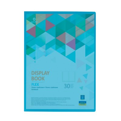 """Папка паластиковая с 30 файлами А4 """"Optima"""" O32123-11 """"Flex"""" голубая"""