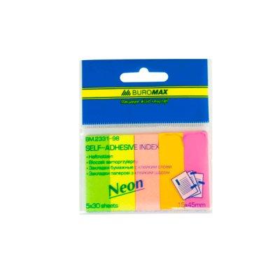 """Блок бумаги  липкий 45х15 30 л х5цв """"BuroMAX"""" 2331-98 неон"""