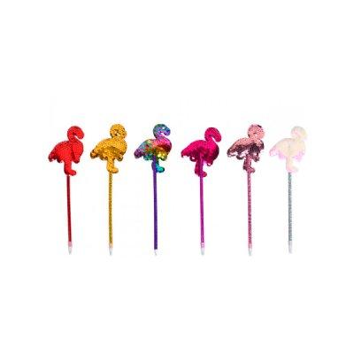 Ручка масляная Фламинго пайетки Mix