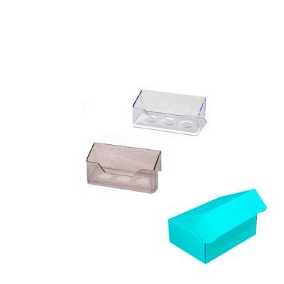 Бокс для визиток прозрачный в индивидуальной упаковке