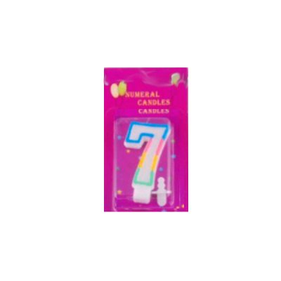Свеча - цифра 7 радуга блеск