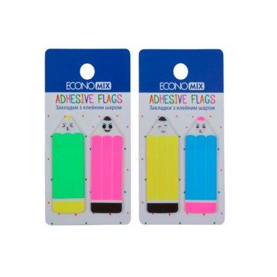 Блок бумаги  липкий 18х50мм Economix Е20968 Fun Pencils пласт .MIX