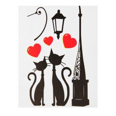 Набор наклеек для интерьера ZV  Коты и сердца №5 **