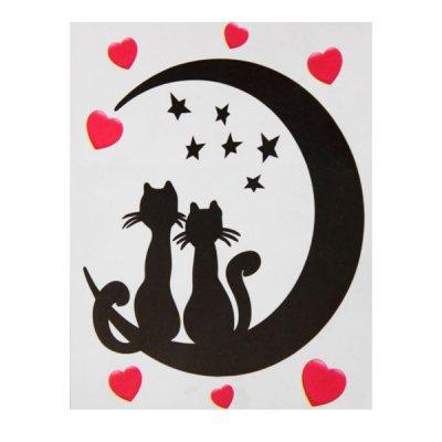 Набор наклеек для интерьера ZV  Коты и луна №6 **