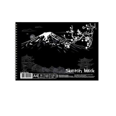 Альбом для эскизов А4 30 л 120 г/м2 «П» BL4130 черный лист, горизонтальная спираль