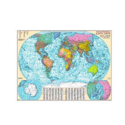 Карта мира политич. М1:22млн 110х160 (карт.) на планках
