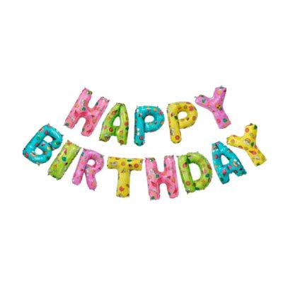 Набор шариков фольга Happy Birthday разноцветные с рисунком **
