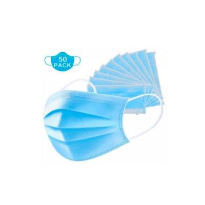 Маска медицинская трехслойная (50 шт) голубая *