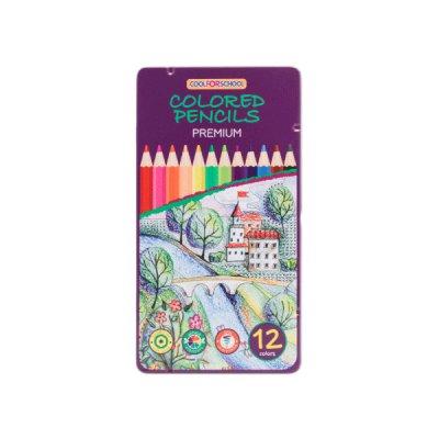 Карандаши цветные CFS CF15172 Premium в металической коробке 12 цветов