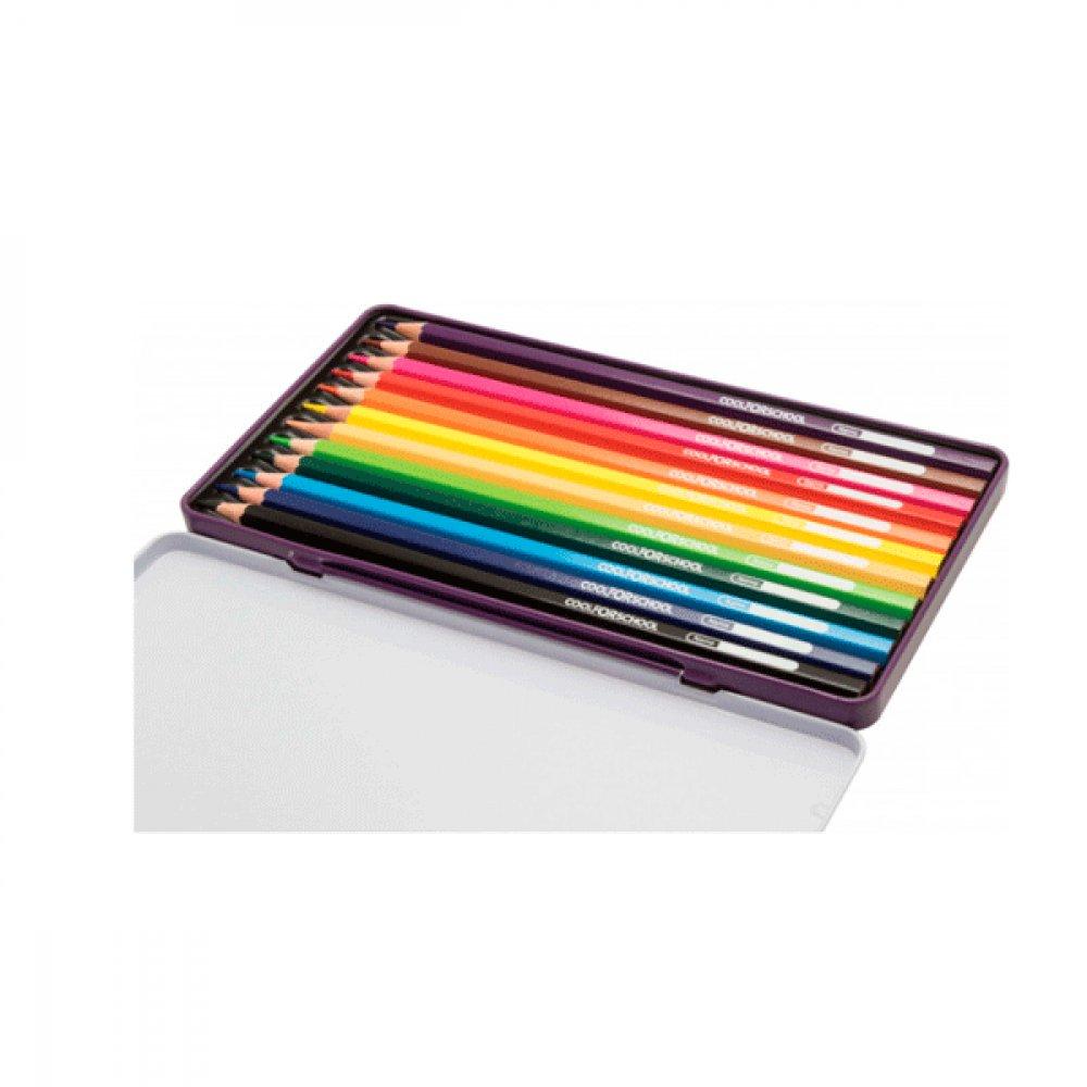 Карандаши цветные CFS CF15173  Premium в металической коробке 12 цветов