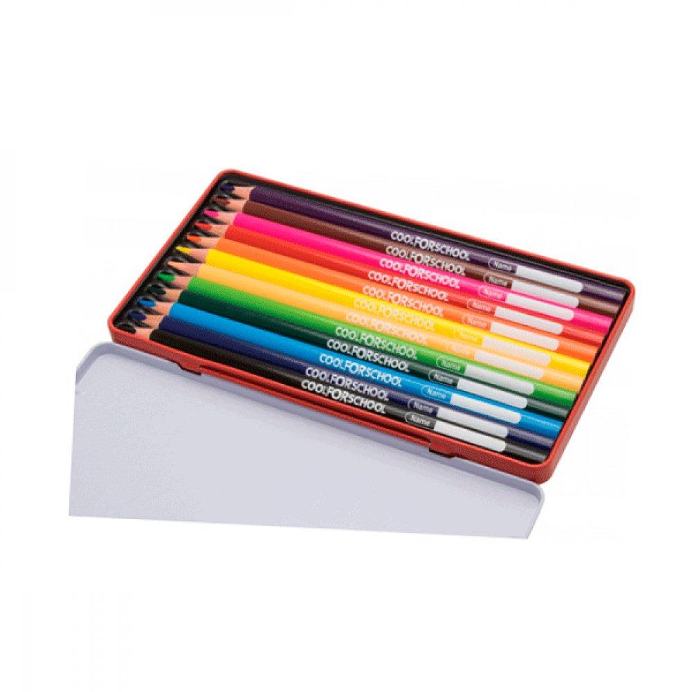Карандаши цветные CFS CF15178 Premium в металической коробке 12 цветов