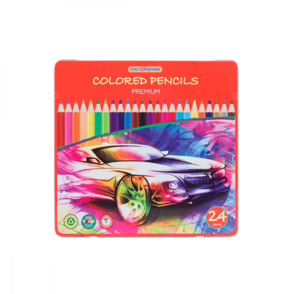 Карандаши цветные CFS CF15179 Premium в металической коробке 24 цвета