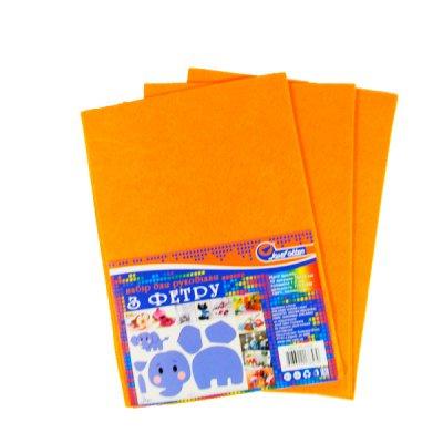 """Бумага цветая А4 10 л """"Фетр"""" 004 оранжевая"""