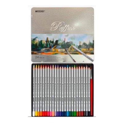 """Карандаши цветные  """"Marco"""" 7120 TN металлическая упаковка, акварельные 24 цвета  **"""