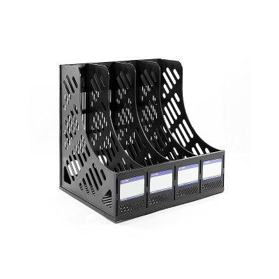 """Лоток вертикальный  """"Economix"""" E31902-01 сборный, 4 отделения, чёрный"""