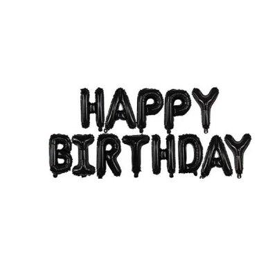 Набор шариков фольга Happy Birthday черные буквы