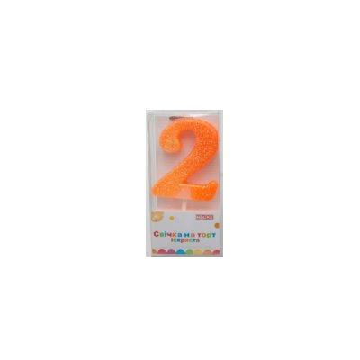 Свеча - цифра  (2) MX622081-2 4,5 см с блестками **