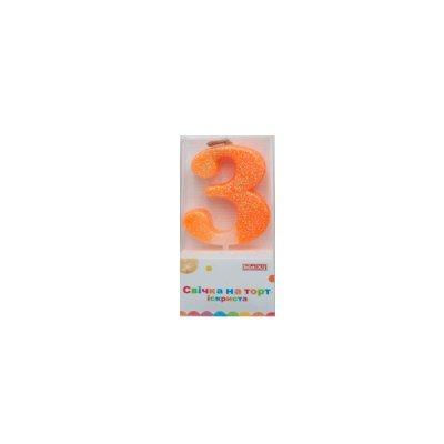 Свеча - цифра большая (3) MX622081-3 4,5 см с блестками **