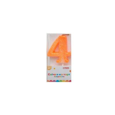 Свеча - цифра большая (4) MX622081-4 4,5 см с блестками **