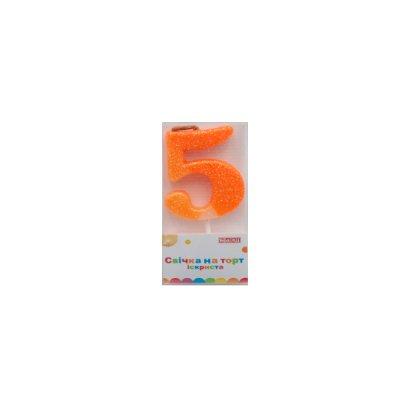 Свеча - цифра большая (5) MX622081-5 4,5 см с блестками **