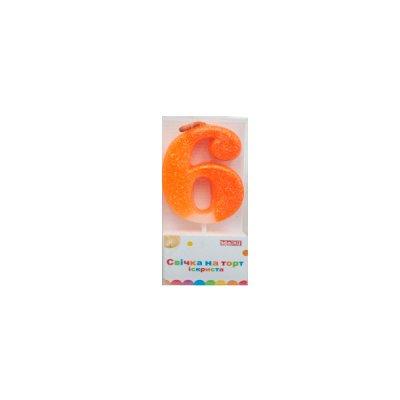 Свеча - цифра большая (6) MX622081-6 4,5 см с блестками **
