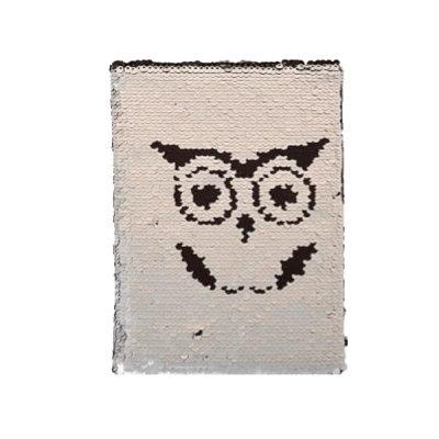 Блокнот А 5 # в клетку Сова обложка, пайетки твердый переплет 21 х 14,5 см