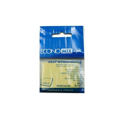 Блок бумаги  липкий 38х50 80 л Economix F27930 желтый