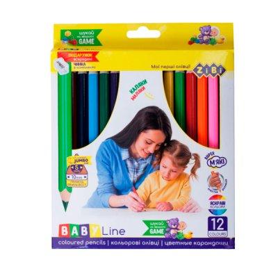 "Карандаши ""ZiBi"" ZB2452 с точилкой 12 цветов JUMBO трехганные"