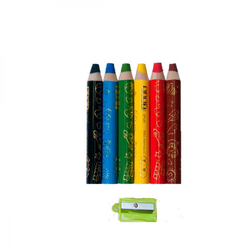 "Карандаши ""ZiBi"" ZB2453 с точилкой 6 цветов Super JUMBO трехгранные"