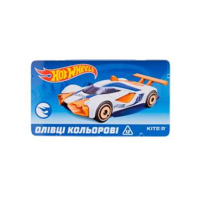 """Карандаши цветные  """"Kite"""" HW19-058 """"Hot Wheels"""" в металлической упаковке 12 цветов трехгранные **"""