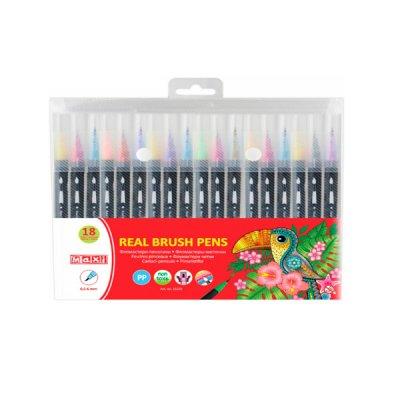 """Фломастеры """"Maxi""""  MX15231 """"Real Brush"""" с кисточкой 18 цветов"""
