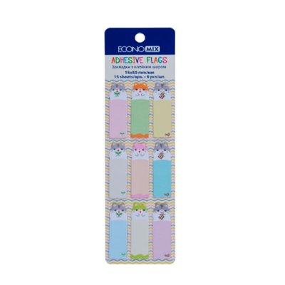 Блок бумаги  липкий 15х50мм Economix Е20962-02 Fun Mouse (9цв) MIX