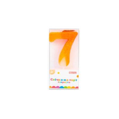 Свеча - цифра большая  (7) MX622081-7 4,5 см с блестками оранжевая **