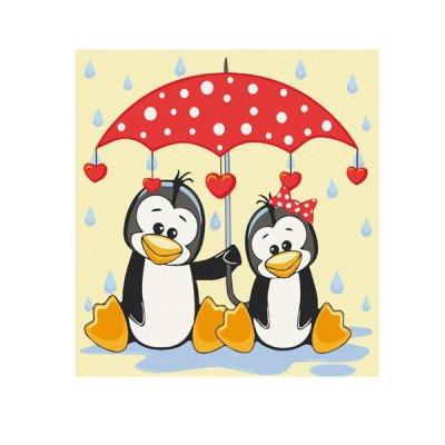 Набор картина по номерам 30 х 30 Пингвин под зонтом 15543-АС **